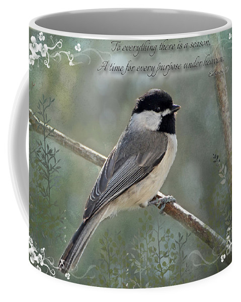 Nature Coffee Mug featuring the photograph Simply Chickadee With Verse by Debbie Portwood