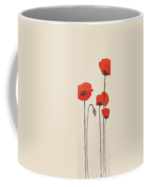 Floral Coffee Mug featuring the painting Simply Poppies 2. by Elvira Ingram