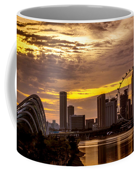 Marina Bay Sands Hotel Coffee Mug featuring the photograph Singapore Flyer by Jijo George