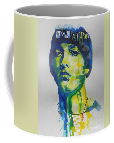 Watercolor Painting Coffee Mug featuring the painting Rapper Eminem by Chrisann Ellis