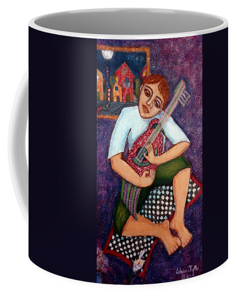 Children Coffee Mug featuring the painting Singing Dreams by Madalena Lobao-Tello
