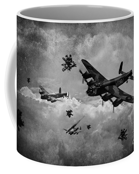 Raf Lancaster Bombers Coffee Mug featuring the digital art Sinking The Tirpitz by J Biggadike