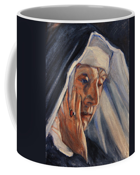 The Coffee Mug featuring the painting Sister Ann by Xueling Zou