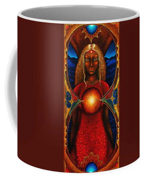 Fantasy Coffee Mug featuring the painting Sister Of The Stars by Kevin Chasing Wolf Hutchins