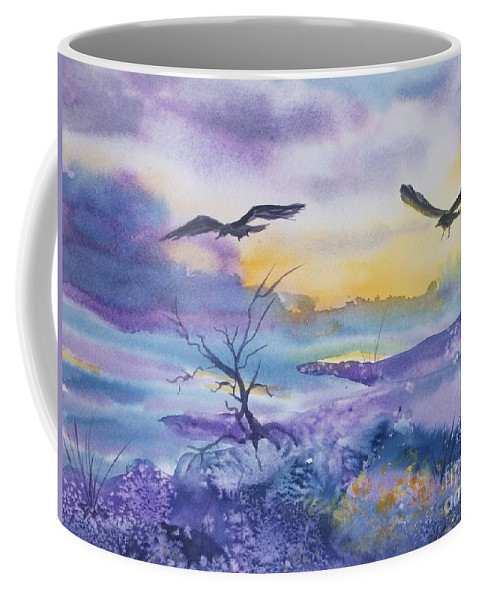Ravens Coffee Mug featuring the painting Sister Ravens by Ellen Levinson