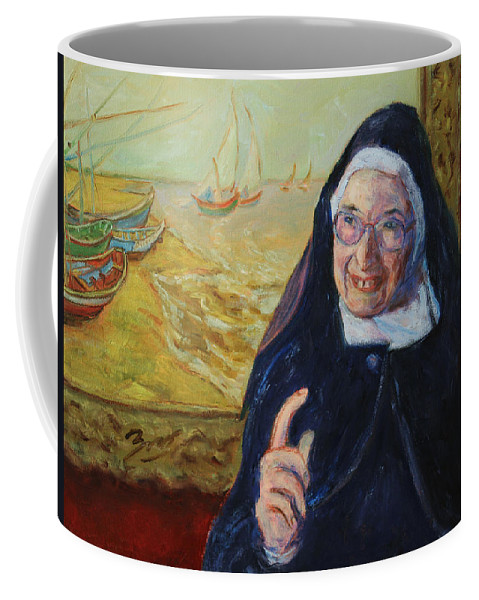Sister Wendy Coffee Mug featuring the painting Sister Wendy by Xueling Zou