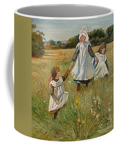 Classic Art Coffee Mug featuring the painting Sisters by Silvana Abel