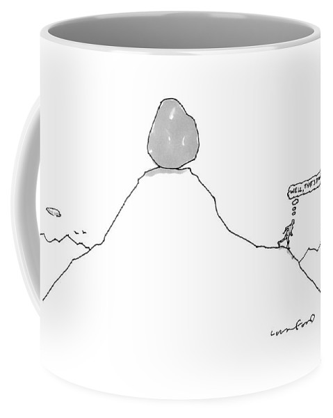 Captionless Sisyphus Coffee Mug featuring the drawing Sisyphus Balances The Boulder At The Top by Michael Crawford