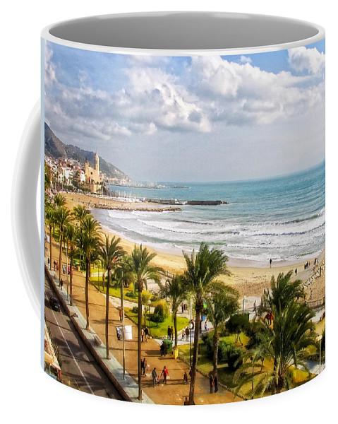 Mediterranean Coffee Mug featuring the photograph Sitges Spain On The Mediterranean Coast by Lars Lentz