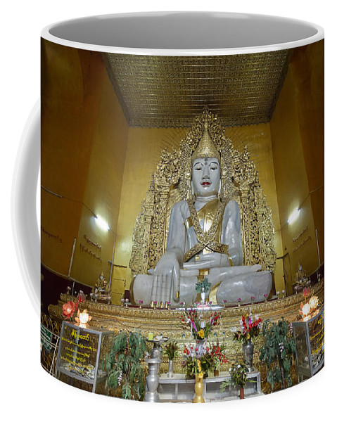 Marble Coffee Mug featuring the photograph sitting Buddha made from one single marble block in KYAUKTAWGYI PAGODA by Juergen Ritterbach