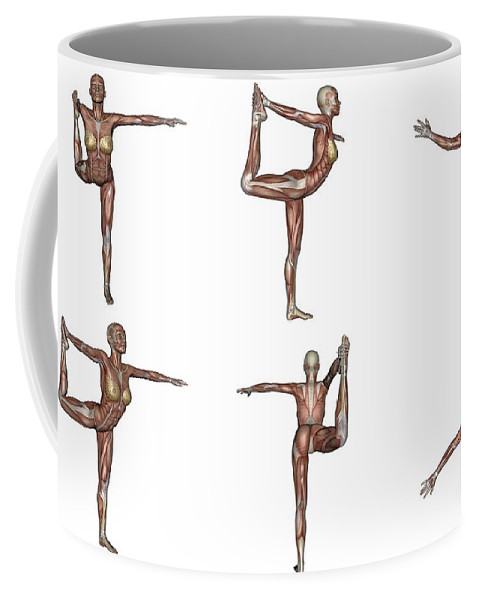Yoga Coffee Mug featuring the digital art Six Different Views Of Dancer Yoga Pose by Elena Duvernay