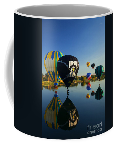 Balloon Coffee Mug featuring the photograph Six On The Pond by Mike Dawson
