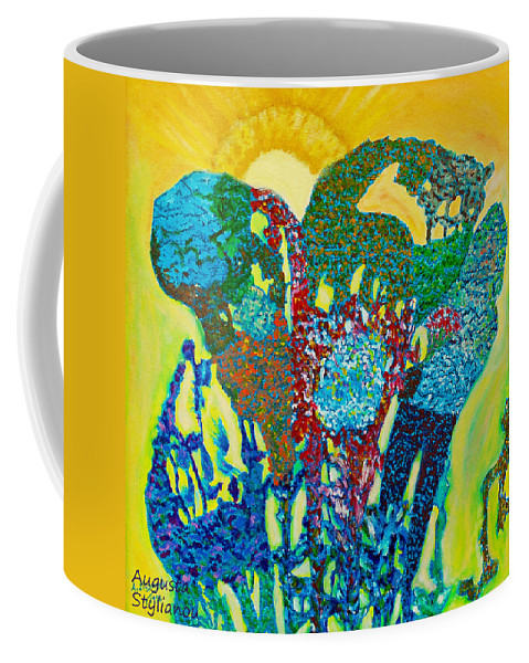 Augusta Stylianou Coffee Mug featuring the painting Sixth Creation by Augusta Stylianou