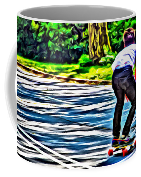 Skateboarder Central Park Road Nyc New York Alicegipsonphotographs Coffee Mug featuring the photograph Skateboarder In Central Park by Alice Gipson