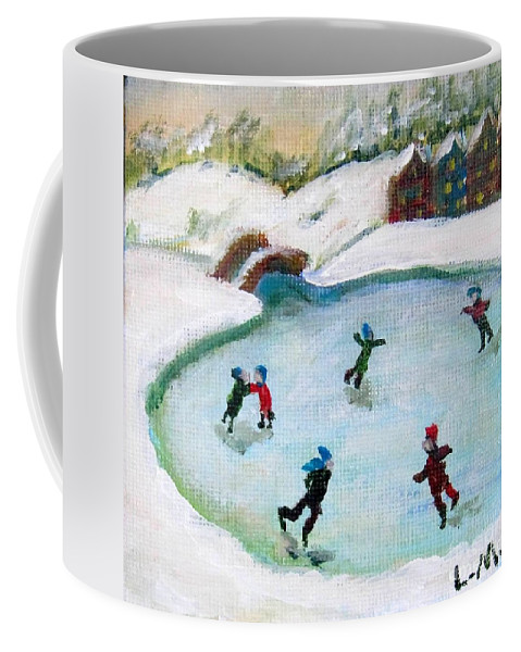 Ice Skate Coffee Mug featuring the painting Skating Pond by Laurie Morgan
