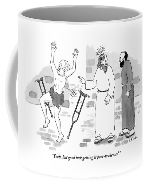 #condenastnewyorkercartoon Coffee Mug featuring the drawing Skeptical Monk Tells An Angel Who by Emily Flake