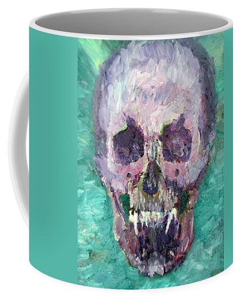 Skull Coffee Mug featuring the painting Skull Vampire Oil Portrait by Fabrizio Cassetta