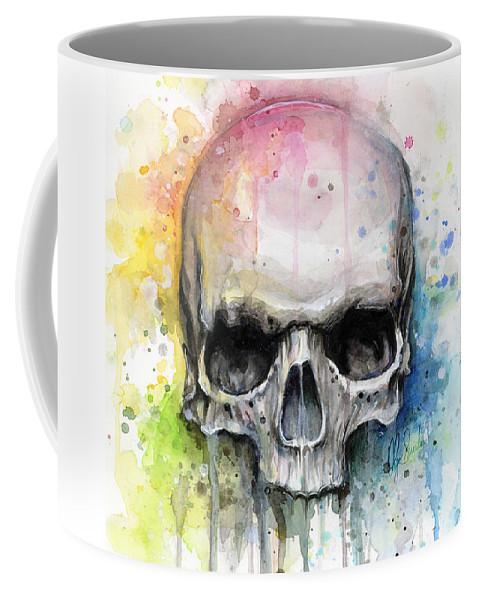 Skull Coffee Mug featuring the painting Skull Watercolor Painting by Olga Shvartsur