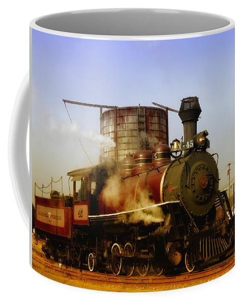 Mendocino Skunk Train Coffee Mug featuring the photograph Skunk Train by Donna Blackhall