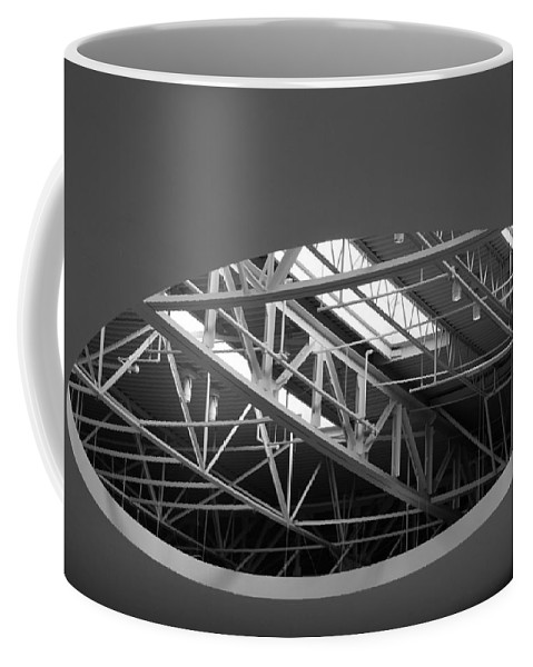 Architecture Coffee Mug featuring the photograph Skylight Gurders In Black And White by Rob Hans