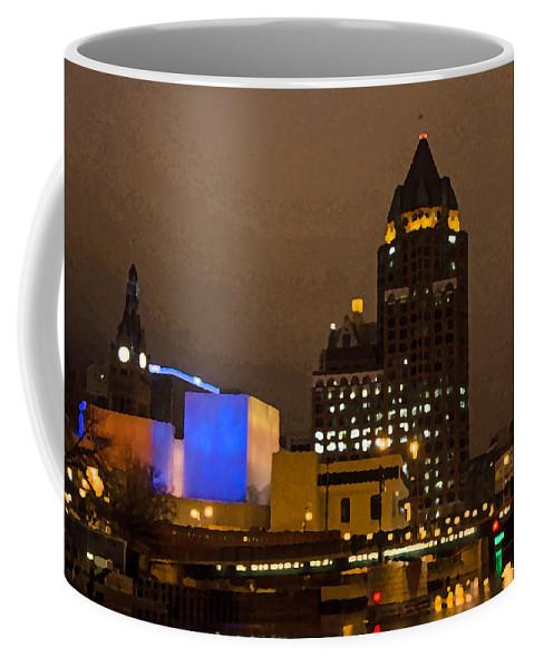 Skyline At The Milwaukee River Coffee Mug featuring the photograph Skyline At The Milwaukee River by Susan McMenamin