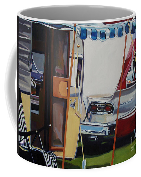 Transportation Coffee Mug featuring the painting Skyliner Weekend by Deb Putnam