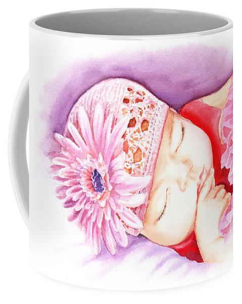 Sleeping Baby Coffee Mug featuring the painting Sleeping Baby by Irina Sztukowski
