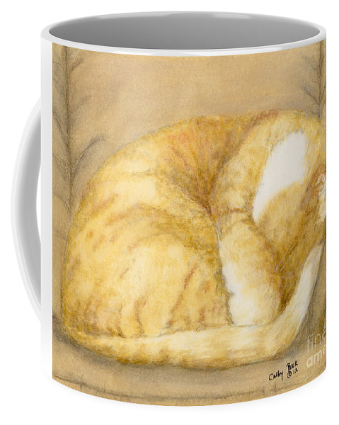 Sleeping Coffee Mug featuring the painting Sleeping Orange Tabby Cat Cathy Peek Animals by Cathy Peek