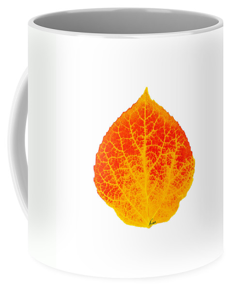 Aspen Leaf Coffee Mug featuring the digital art Small Red And Yellow Aspen Leaf 1 - Print Version by Agustin Goba