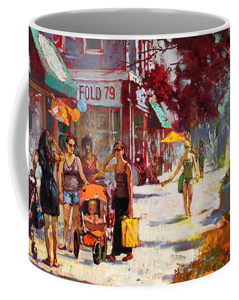 Landscape Coffee Mug featuring the painting Small Talk In Elmwood Ave by Ylli Haruni