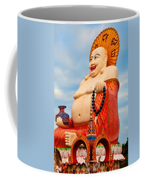 Ancient Coffee Mug featuring the photograph smiling Buddha by Adrian Evans