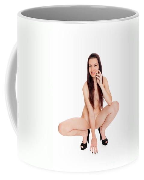 Woman Coffee Mug featuring the photograph Smillung Nude Brunette by Jochen Schoenfeld