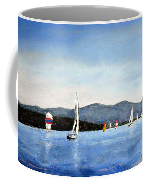 Smith Mountain Lake Coffee Mug featuring the painting Smith Mountain Lake Regatta #4 by Shelley Koopmann