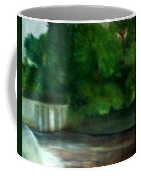 Smithville Park Coffee Mug featuring the painting Smithville Park Dam by Sheila Mashaw