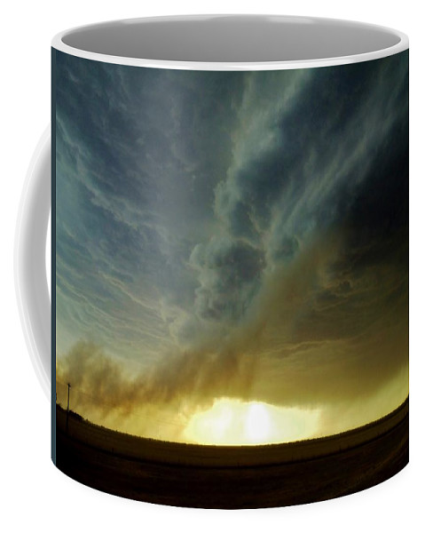 Storm Coffee Mug featuring the photograph Smoke And The Supercell by Ed Sweeney