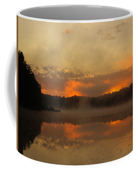Sunrise Coffee Mug featuring the photograph Smoke On The Water by Thomas Young