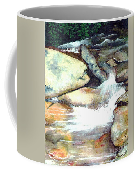 Fine Art Coffee Mug featuring the painting Smoky Mountains Waterfall by Patricia Griffin Brett
