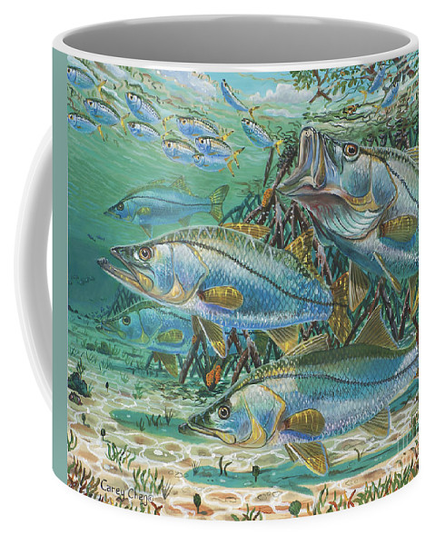 Snook Coffee Mug featuring the painting Snook Attack In0014 by Carey Chen