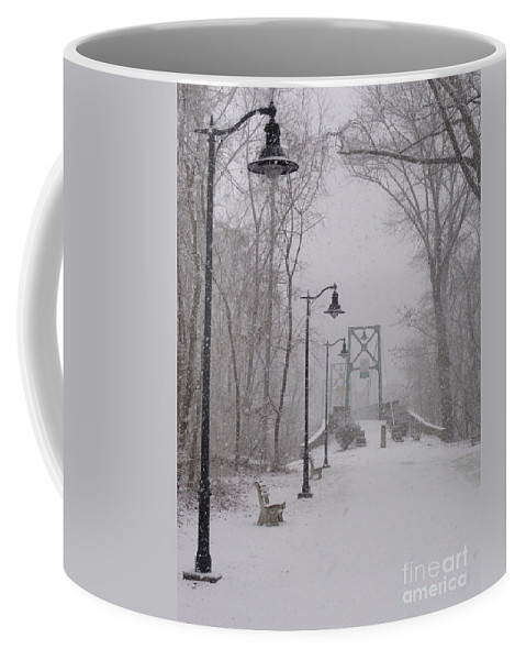 Bridge Coffee Mug featuring the photograph Snow At Bulls Island - 05 by Christopher Plummer