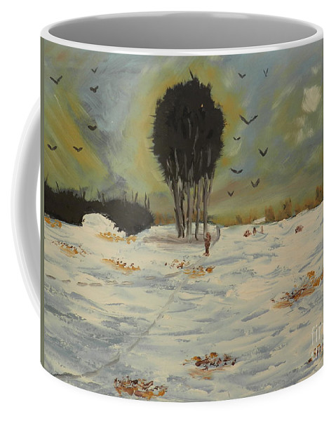 Impressionist Coffee Mug featuring the painting Snow At Christmas by Pamela Meredith