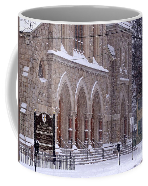 Church Coffee Mug featuring the photograph Snow At St. John's by Christopher Plummer