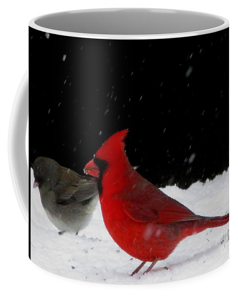 Snow Birds Of North America Snow Finch And Cardinal Red Birds Winter Birds Of The Chesapeake Bay Region Winter Song Birds Winter Wildlife Images Bird Prints Little Gray Bird In The Snow Coffee Mug featuring the photograph Snow Birds by Joshua Bales