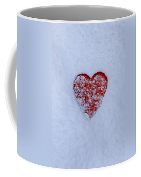 Red Coffee Mug featuring the photograph Snow-covered Heart by Joana Kruse