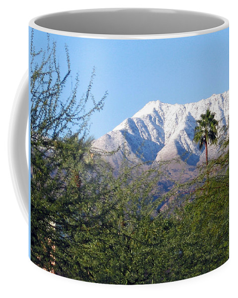 Snow Coffee Mug featuring the photograph Snow In The Desert by Jay Milo