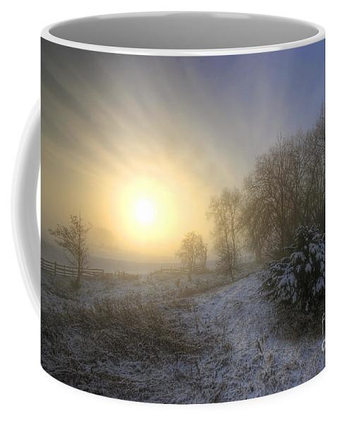 Yhun Suarez Coffee Mug featuring the photograph Snow Landscape Sunrise by Yhun Suarez