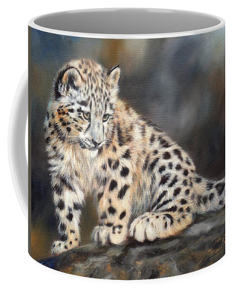 Snow Leopard Coffee Mug featuring the painting Snow Leopard Cub by David Stribbling