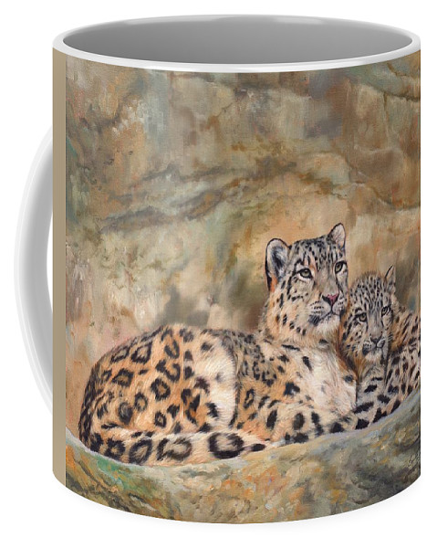 Snow.leopard Coffee Mug featuring the painting Snow Leopards by David Stribbling