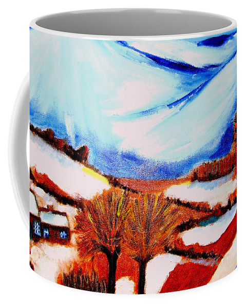 Winter Coffee Mug featuring the painting Snow on Snow... by Rusty Gladdish