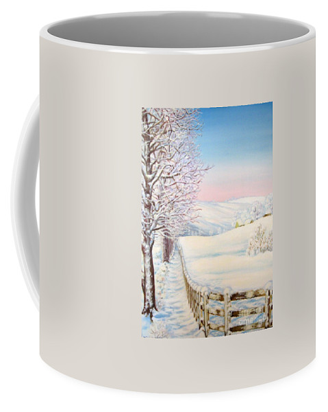 Winter Coffee Mug featuring the painting Snow Path by Inese Poga