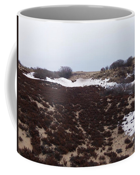 Sandy Point Coffee Mug featuring the photograph Snow Spotted Dunes by Two Bridges North